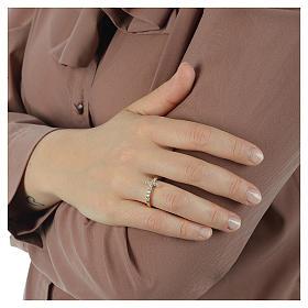 Anello AMEN croce arg 925 dorato zirconi bianchi s3