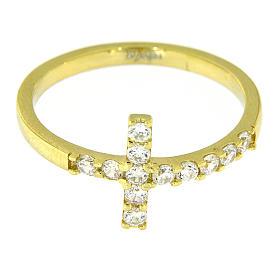 Anello AMEN croce arg 925 dorato zirconi bianchi s5