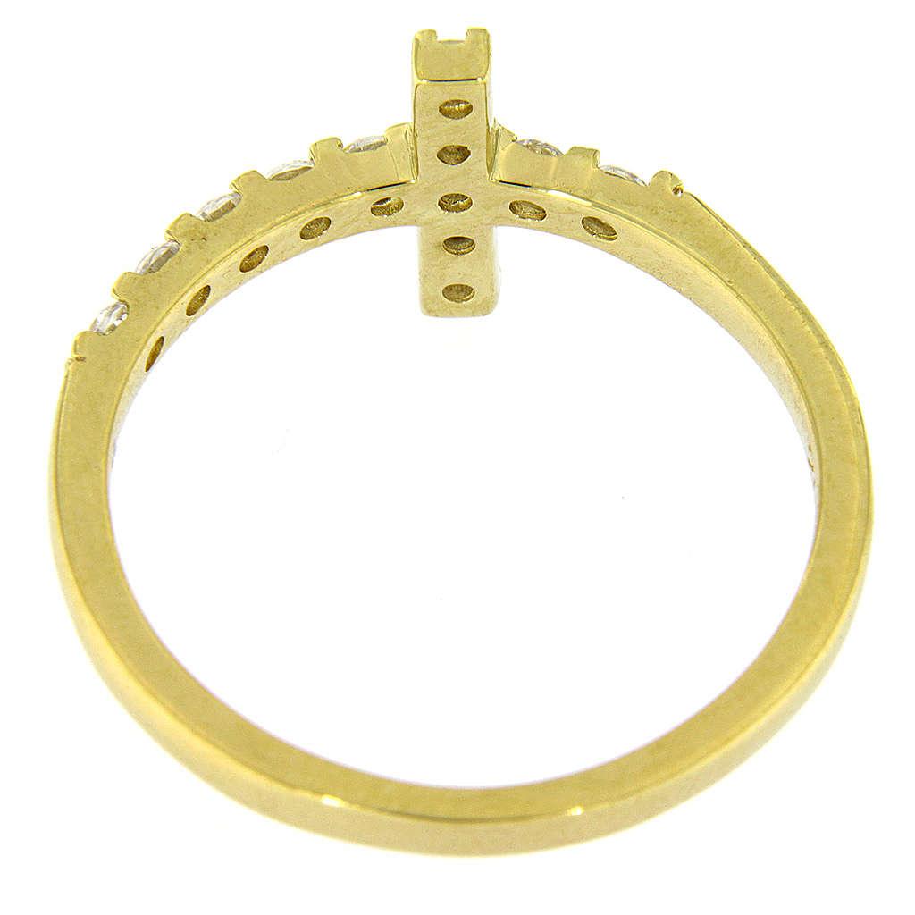 Pierścionek AMEN krzyż srebro 925 pozłacane cyrkonie białe 3