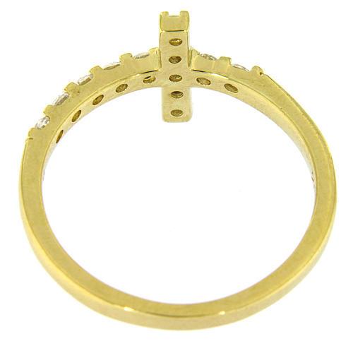 Pierścionek AMEN krzyż srebro 925 pozłacane cyrkonie białe 6