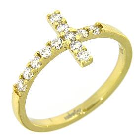 Anel Amen cruz prata 925 dourada zircões brancos s4