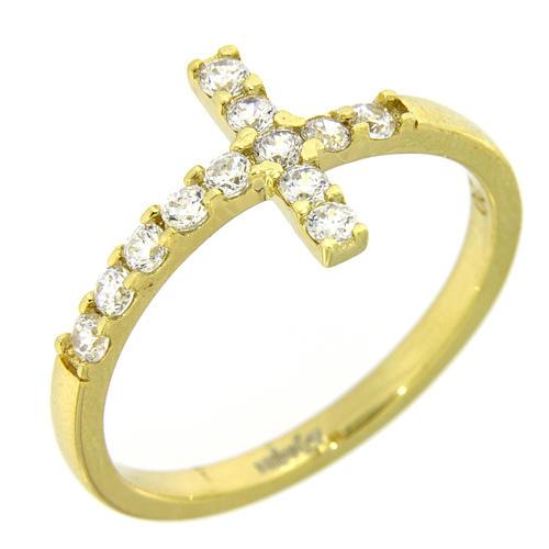 Anel Amen cruz prata 925 dourada zircões brancos 10