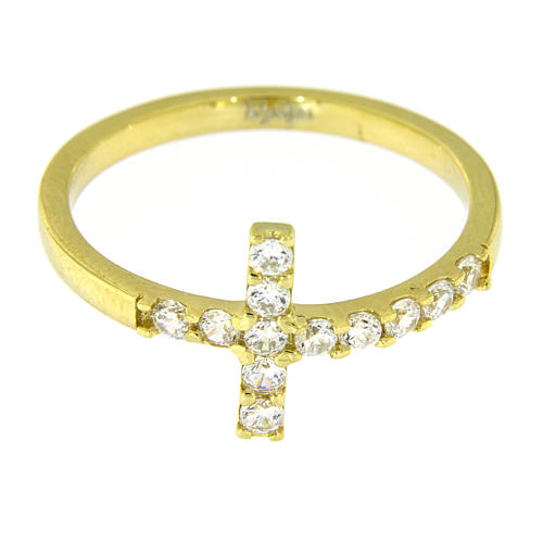Ring AMEN Cross gilded silver 925, white zircons 11