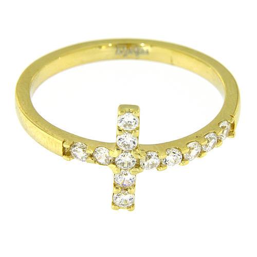 Ring AMEN Cross gilded silver 925, white zircons 5