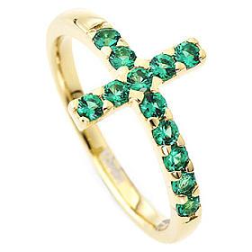 Anello AMEN croce arg 925 dorato zirconi verdi s2