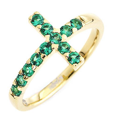 Anello AMEN croce arg 925 dorato zirconi verdi 1