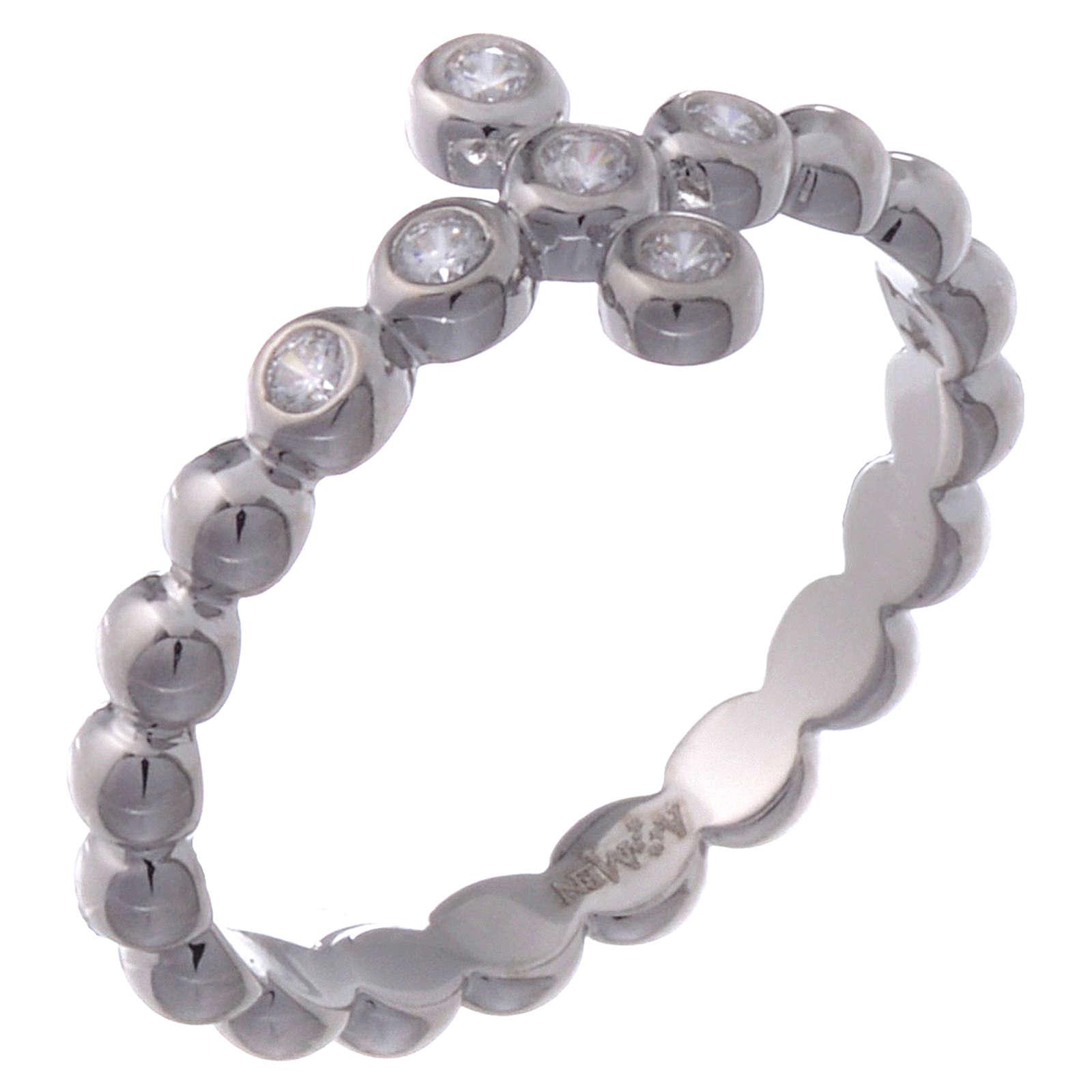 Anillo AMEN modelo Boules plata 925 con circones blancos 3