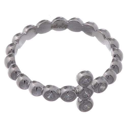 AMEN Beads Ring White silver 925, white zircons 2