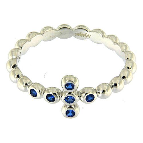 Anello AMEN Boules arg 925 Bianco zirconi blu 2