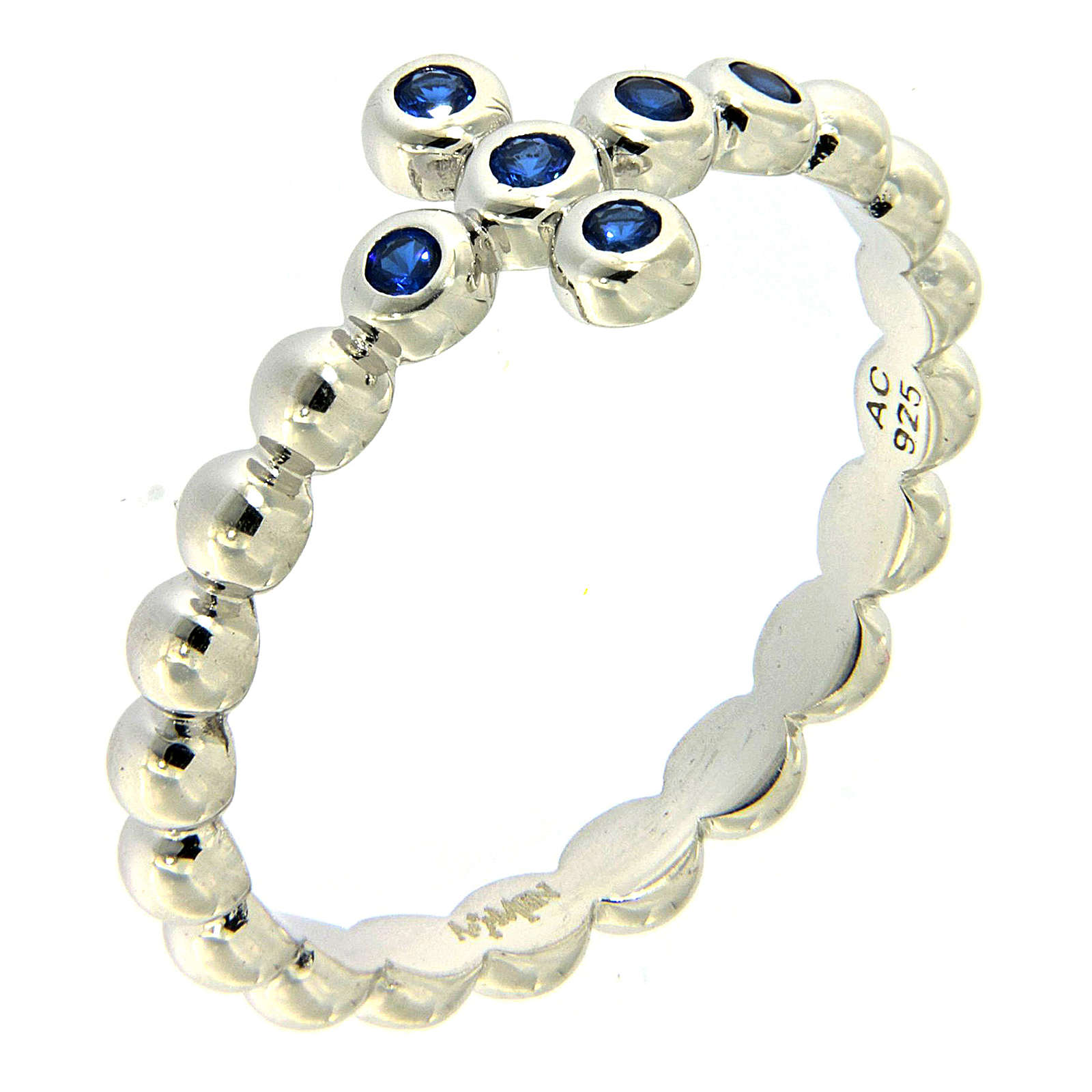 AMEN Beads Ring White silver 925, blue zircons 3