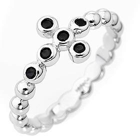 Bague AMEN boules arg 925 blanc zircons noirs s1