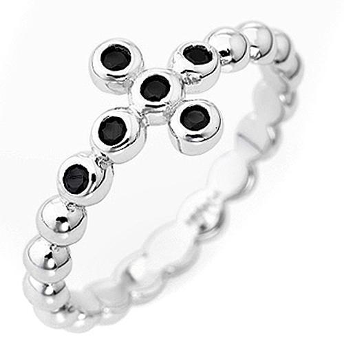 Bague AMEN boules arg 925 blanc zircons noirs 1