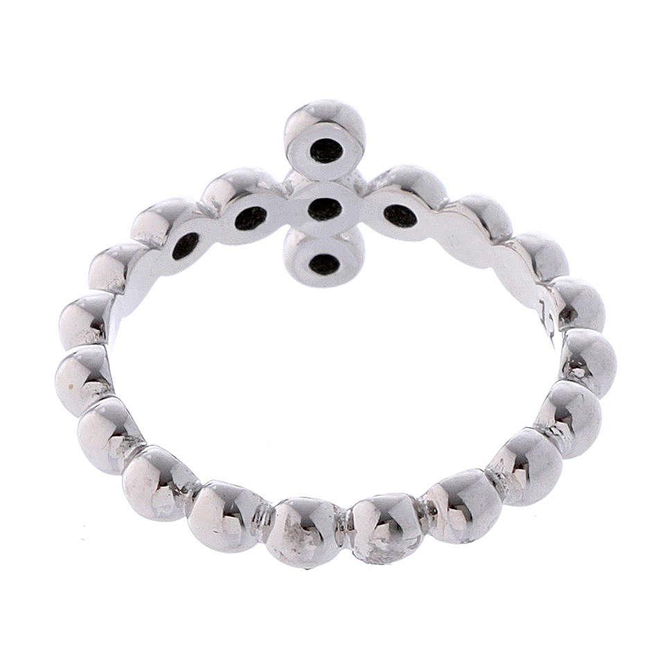 AMEN Beads Ring White silver 925, black zircons 3