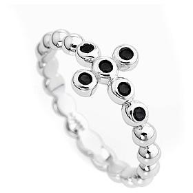 AMEN Beads Ring White silver 925, black zircons s2