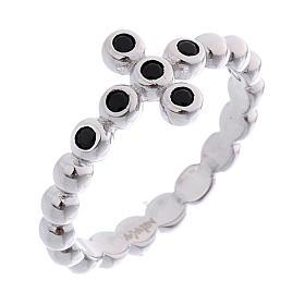 AMEN Beads Ring White silver 925, black zircons s1