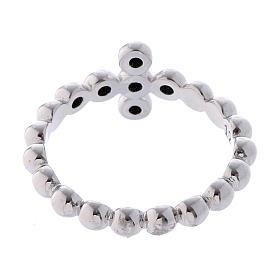 AMEN Beads Ring White silver 925, black zircons s3