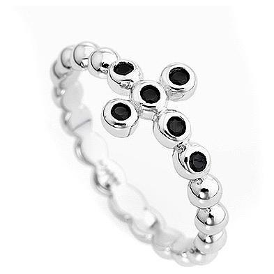 AMEN Beads Ring White silver 925, black zircons 2