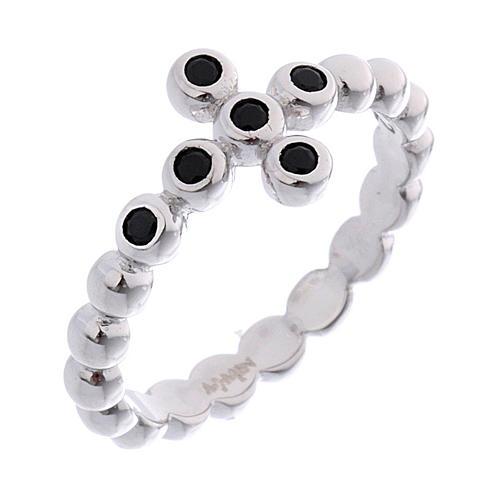 AMEN Beads Ring White silver 925, black zircons 1