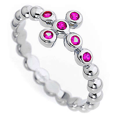 AMEN Beads Ring White silver 925, red zircons 3