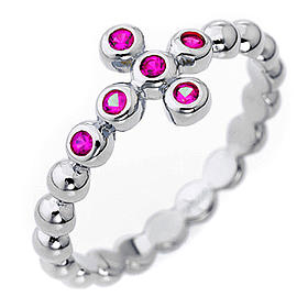 AMEN Beads Ring White silver 925, red zircons s1