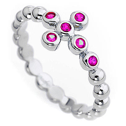 AMEN Beads Ring White silver 925, red zircons 2