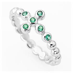 AMEN Beads Ring White silver 925, green zircons s2