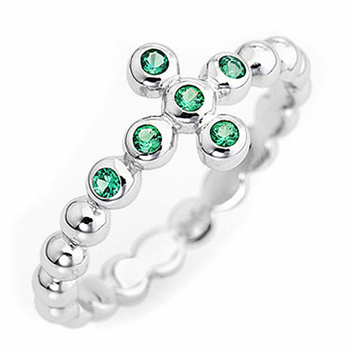 AMEN Beads Ring White silver 925, green zircons 1