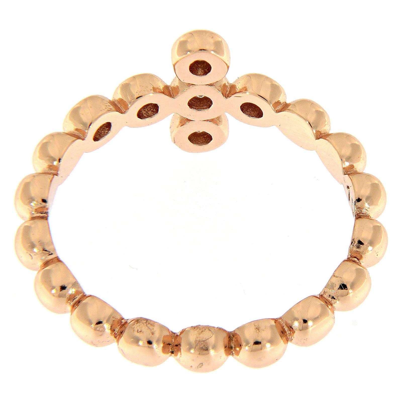AMEN Beads Ring Rosè silver 925, white zircons 3