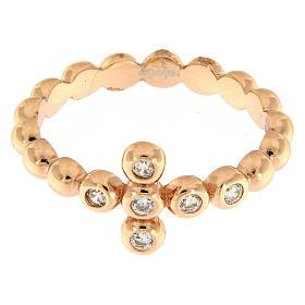 AMEN Beads Ring Rosè silver 925, white zircons s2