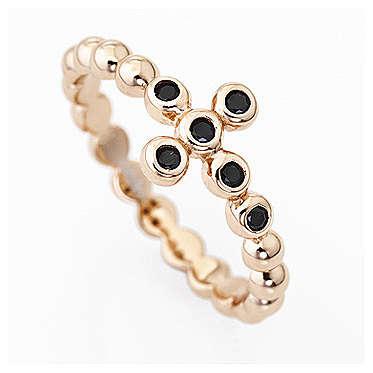 AMEN Beads Ring Rosè silver 925, black zircons 3