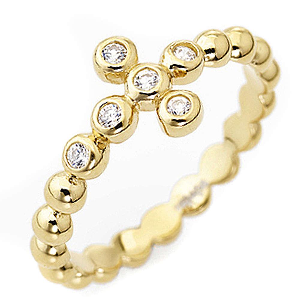 Anello AMEN Boules arg 925 dorato zirconi bianco 3