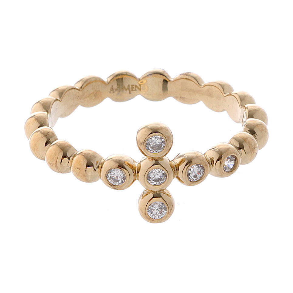 AMEN Beads Ring gilded silver 925, white zircons 3
