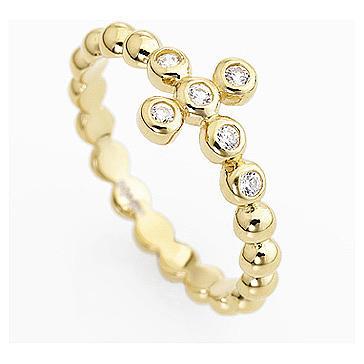 AMEN Beads Ring gilded silver 925, white zircons 2