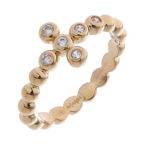 AMEN Beads Ring gilded silver 925, white zircons 1