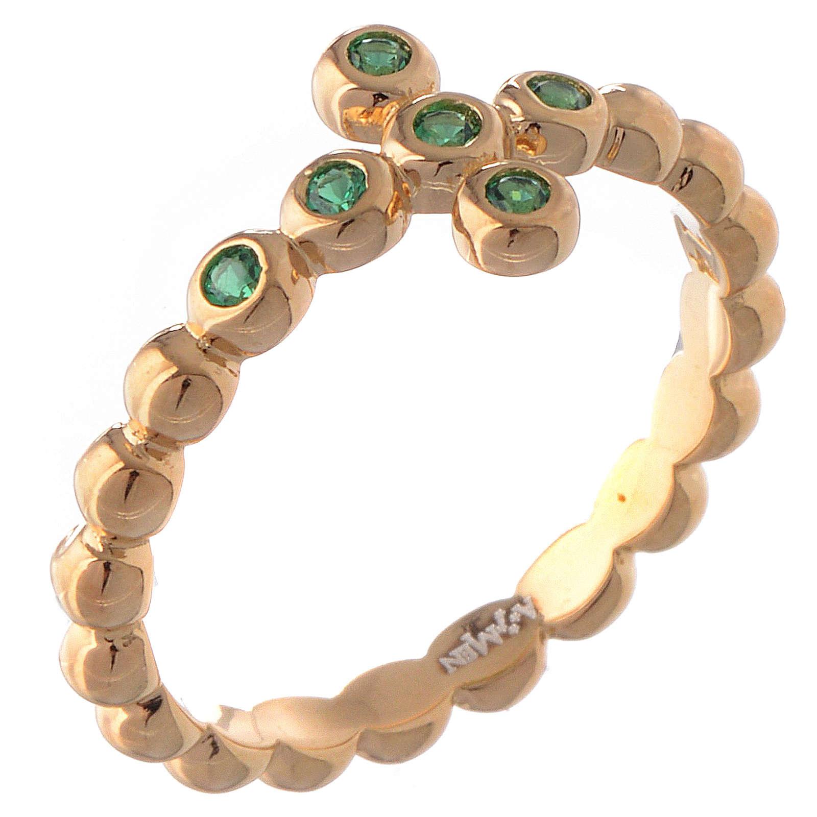 Anello AMEN Boules arg 925 dorato zirconi verdi 3