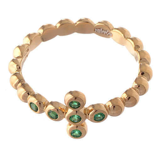 Anello AMEN Boules arg 925 dorato zirconi verdi 2