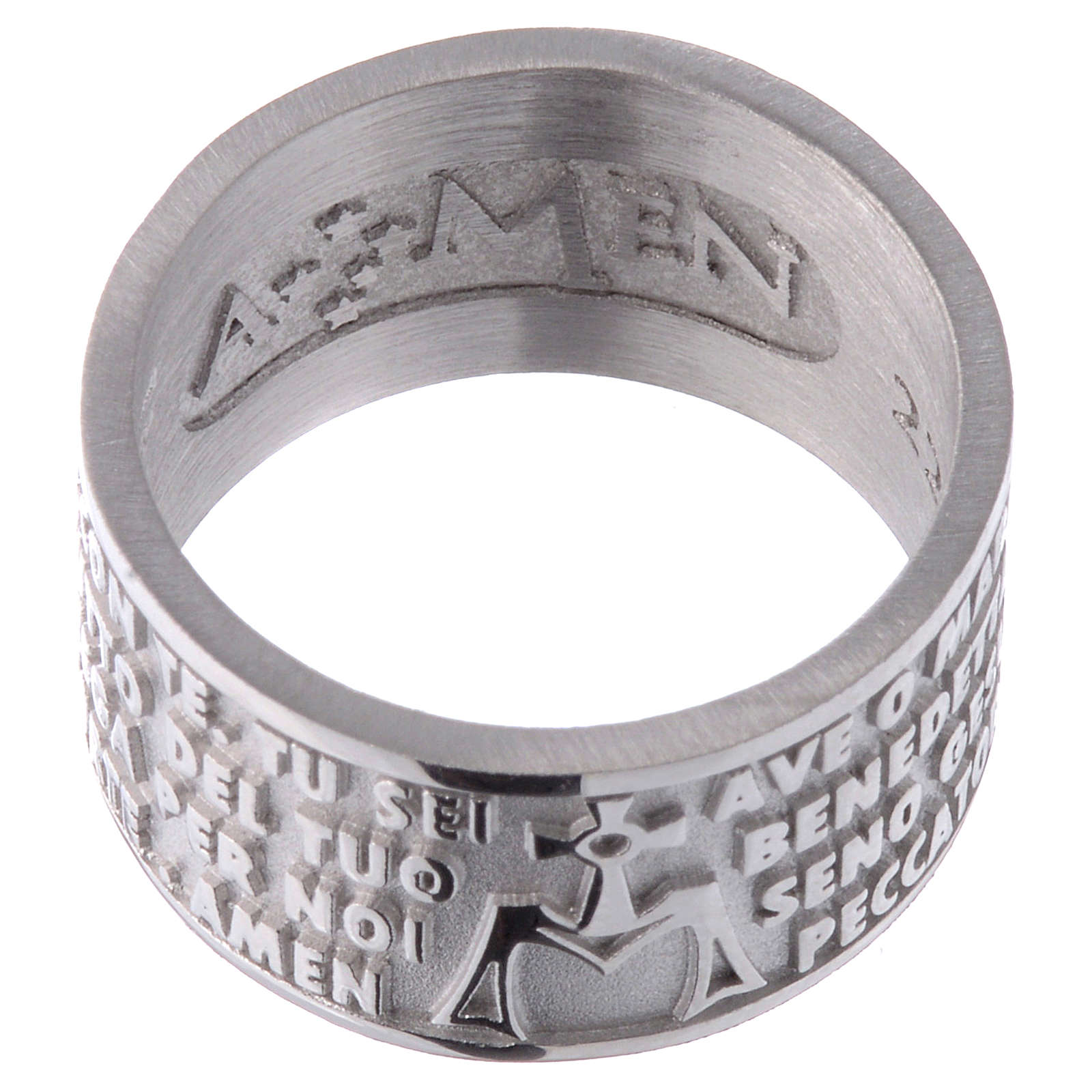Ring AMEN Hail Mary ITALIAN Silver 925 3