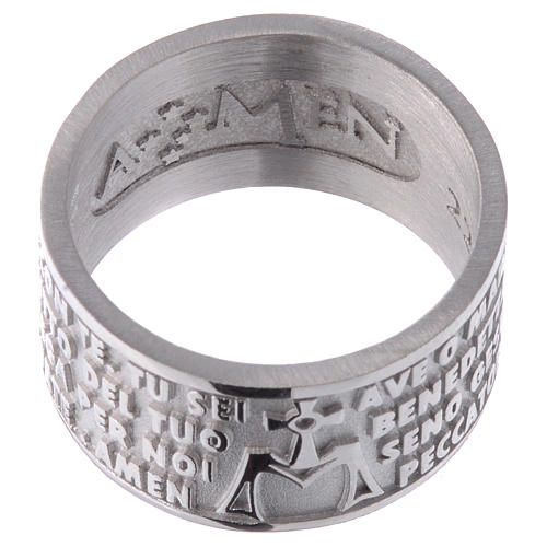 Ring AMEN Hail Mary ITALIAN Silver 925 2