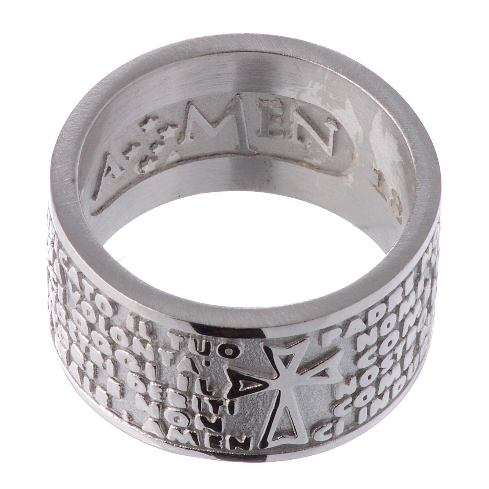 Pierścionek AMEN Ojcze Nasz w języku włoskim srebro 925 3