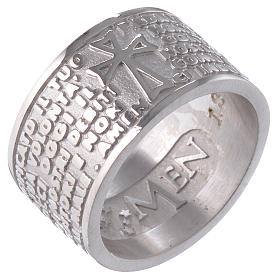 Pierścionek AMEN Ojcze Nasz w języku włoskim srebro 925 s1
