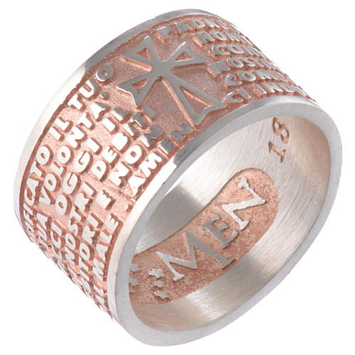 Ring AMEN Our Father ITA Silver 925, pink finish 1
