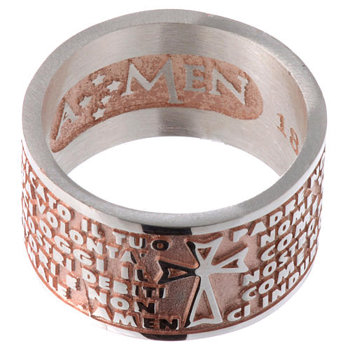 Ring AMEN Our Father ITA Silver 925, pink finish 2