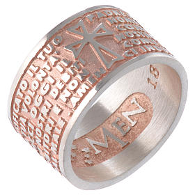 Ring AMEN Our Father ITA Silver 925, pink finish s1
