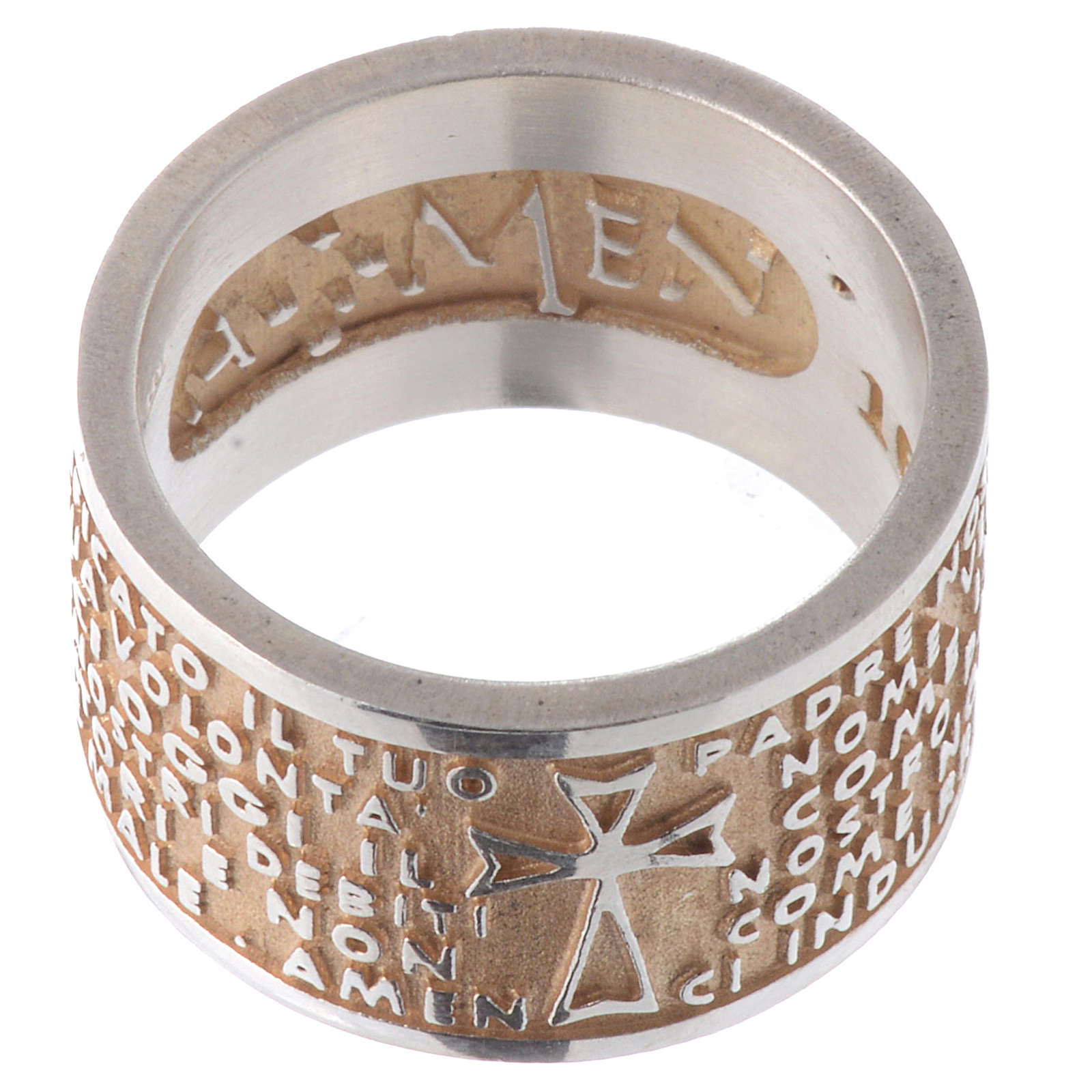 Ring AMEN Our Father ITA Silver 925, gold finish 3