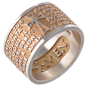 Ring AMEN Our Father ITA Silver 925, gold finish s1