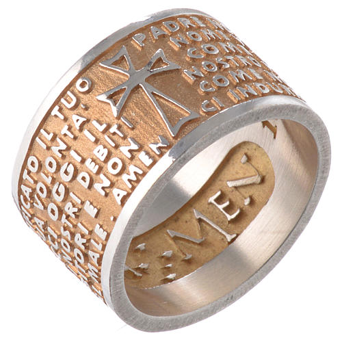 Ring AMEN Our Father ITA Silver 925, gold finish 1