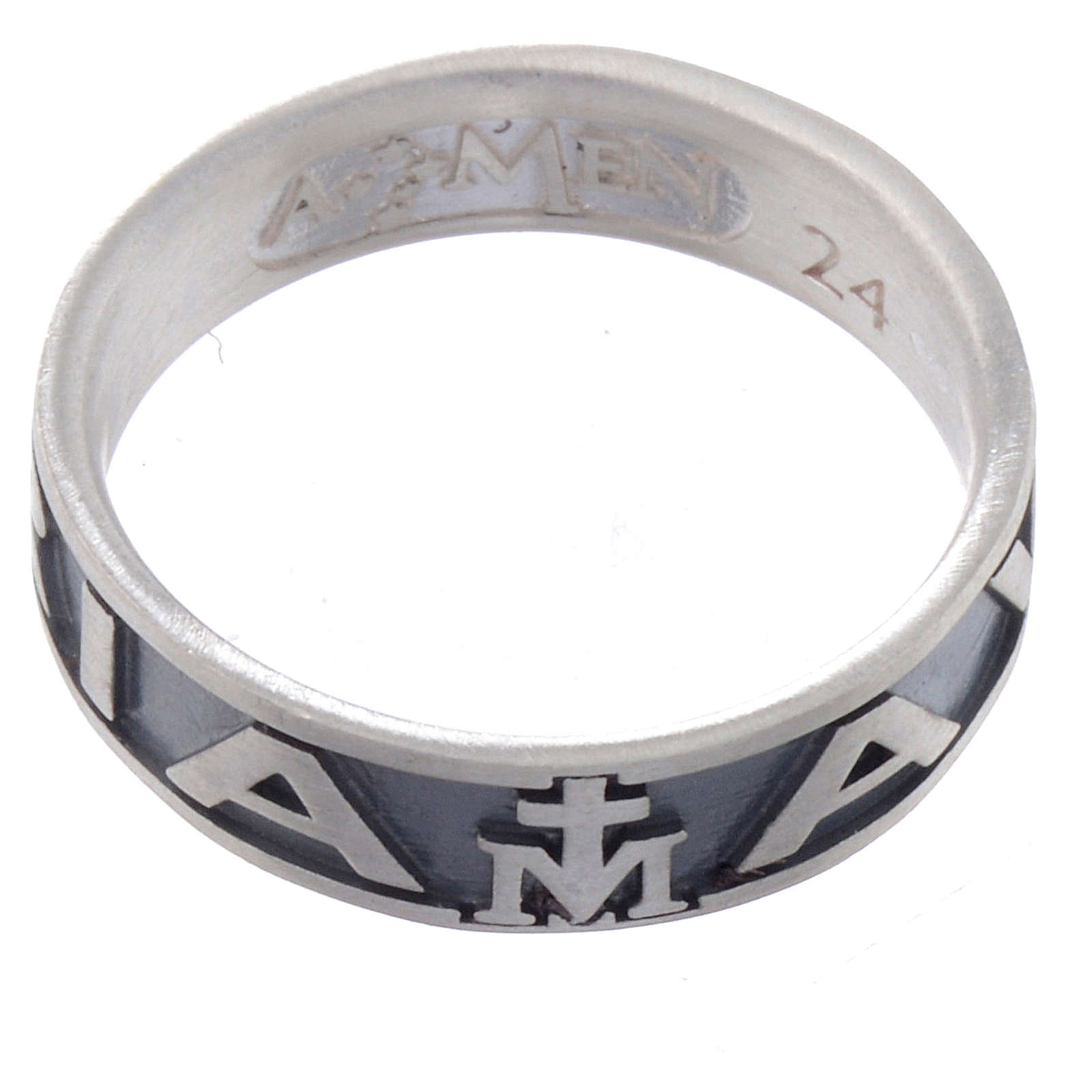Anello AMEN Ave Maria argento 925 fin. Brunito 3