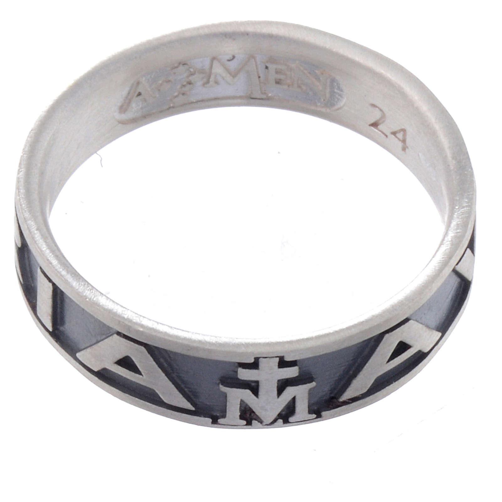 Ring AMEN Hail Mary silver 925, Burnished finish 3