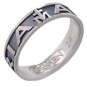 Ring AMEN Hail Mary silver 925, Burnished finish s1