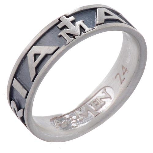 Ring AMEN Hail Mary silver 925, Burnished finish 1
